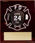 Piano Finish Plaque with ColorFuze Fire Badge